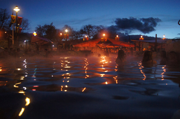 Night time soak at Lava Hot Springs Idaho.