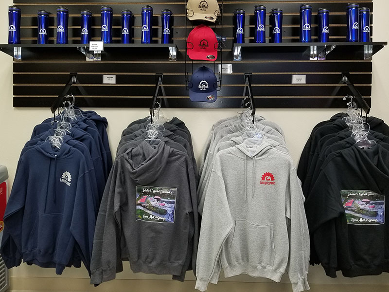 Gift Shop hoodies, hats and water bottles