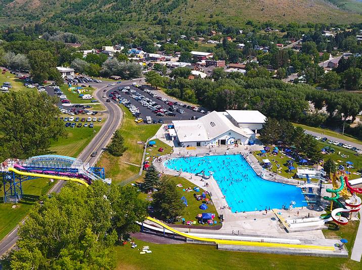 Lava Hot Springs Water Park Swimming Pool, Diving Towers & Water Slides