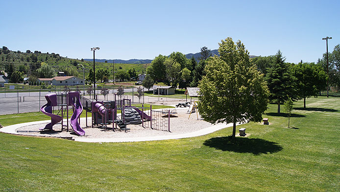 Lava Hot Springs City Park playground and pavilion